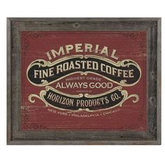 """Click Wall Art Fine Roasted Coffee Framed Vintage Advertisement on Canvas Size: 23.5"""" H x 27.5"""" W x 1"""" D"""
