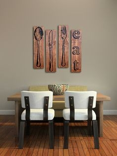 "Extra Large Fork Knife and Spoon Wall Art  EAT Sign Set on Distressed Solid Wood - 32"" x 8"" each"