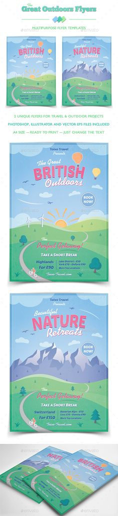 Great Outdoors - Travel Flyer by ToivoMedia The Great Outdoors Flyer / Poster Templates Fresh and inspiring designs with illustrations of beautiful scenery and outdoor activ