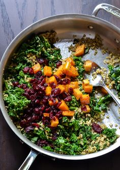Maple Roasted Butternut Squash Salad with Kale, Freekeh, and Cranberries | the law student's wife