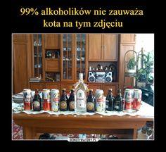 99% alkoholików nie zauważa kota na tym zdjęciu Memes, Liquor Cabinet, Humor, Storage, Funny, Jokes, Purse Storage, Meme, Humour
