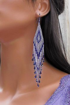 Extra+Long+Earrings+in+Shades+of+Purple++by+CreationsbyWhiteWolf,+$34.00