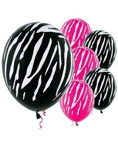 Latex Black & Pink Zebra Print Balloons-Party City