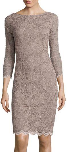 TIANA B Tiana B. 3/4-Sleeve Allover Lace Dress - Tall