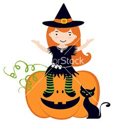 Cute witch sitting on pumpkin vector 993938 - by Olillia on VectorStock®