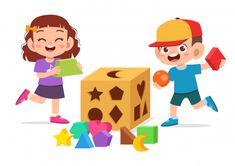 Feliz filhos bonitos jogar aprender geom... | Premium Vector #Freepik #vector #escola #criancas #madeira #geometrico 4 Kids, Cute Kids, Kids Girls, Children, Math Genius, Sacred Geometry Tattoo, School Clipart, Art Drawings For Kids, Cartoon Kids