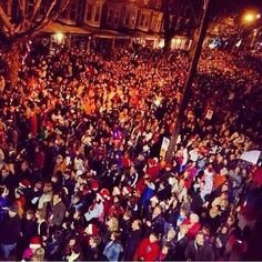 """The true meaning of Christmas!  10,000 people in my hometown gathered together last night 12-21-13 to grant an 8 yr old dying girls wish, to hear Christmas Carols!  Delaney Brown of West Reading, PA she was too weak to look out the window, but posted a pic saying """"I can hear you now"""" love you with her thumb up in the air!"""