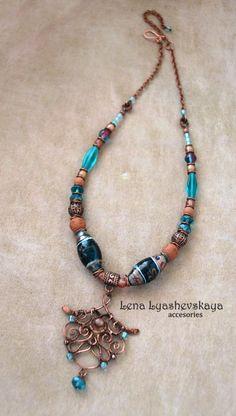 "Necklace ""SEA"" Lampvork, handmade ceramic beads, Czech glass, copper"