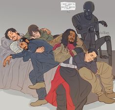 """""""Anonymous said: if you're still taking prompts… squad nap pile? perception-without-comprehension said: i might request for rogue one slumber party (because they gotta sleep at some point between..."""