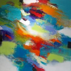 Abstract painting titled Mod by Jeffrey Bisaillon 48 X 48 inches 2015 http://www.jeffreybisaillon.com/abstract18.html