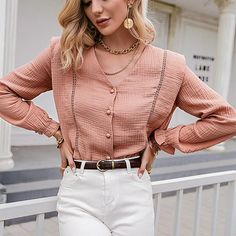 Evelyn blush pink V-neck long sleeve front button blouse Bohemian Tops, Cute Blouses, Leggings, Cute Tops, Casual Tops, Jeans, Fashion Outfits, Long Sleeve, Sleeves