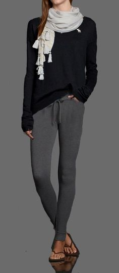 Lazy Sunday Outfit. Super Skinny Sweatpants, paired with a navy Codie Sweater. Throw on a Cute Shine Scarf if you have to go out to the store!SO COMFY LOOKING