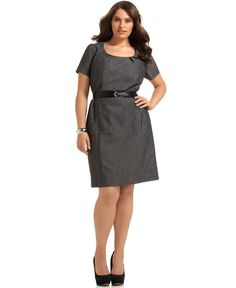 AGB Plus Size Dress, Short Sleeve Belted Sheath - Plus Size Suits & Separates - Plus Sizes - Macy's