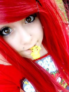 Emo Hair/Scene Girl BEAUTIFUL love the piercings and the hair color