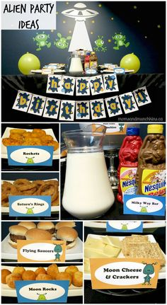 Alien Party Ideas for Kids - Moms & Munchkins Alien Party Ideas - ideas for party decorations, clever & tasty party food ideas, activities, favors and Rocket Birthday Parties, Kids Birthday Themes, Kids Party Themes, Food Themes, Birthday Fun, Party Ideas, Food Ideas, Alien Party, Astronaut Party
