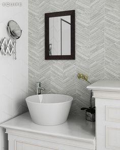 Rhombus Wall White, Decor Bambú B&W 15,2x26,3. #modern, #rhombus, #rhombus tile, #interior design, #design, #shape, #forms, #decor, #bath, #bathroom, #kitchen, #geometric tile, #geometric forms, #diamond pattern, #diamond, #equipe, #equipe cerámicas, #ceramic materials, #indoor, #outdoor, #wall tile, #pattern