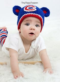 Crocheted Chicago Cubs Hat  Blue by TinyTippyToppers on Etsy