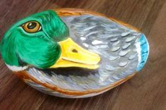 Hand painted rock duck by Cobblecreatures on Etsy