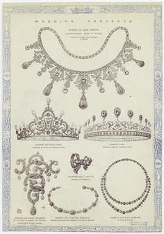 Wedding presents: diamond and pearl jewelry. From The Illustrated London News, 1896. New York Public Library.