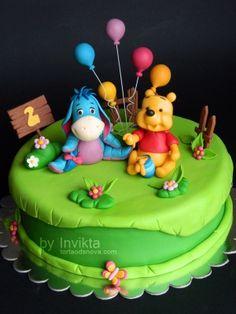 baby shower cakes winnie the pooh  | Winnie the Pooh and Eyore Cake | baby shower cakes