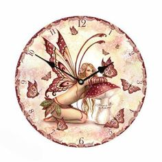 A magical way to tell the time. Fairy Glen, Fairy Gifts, Butterflies Flying, Red Butterfly, Telling Time, Look At You, Pink Flowers, Pixie, Small Things