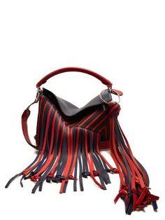 Puzzle fringed striped canvas bag   | Loewe | MATCHESFASHION.COM