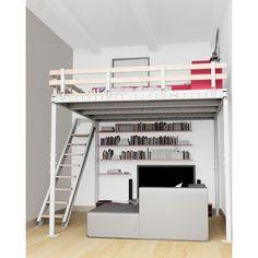 Cama alta T8 con escalera lateral - Tecrostar.com