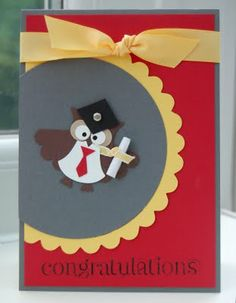 handmade graduation card ... punched owl in grads clothes ... could make the card in your school's colors ... Stampin' Up!