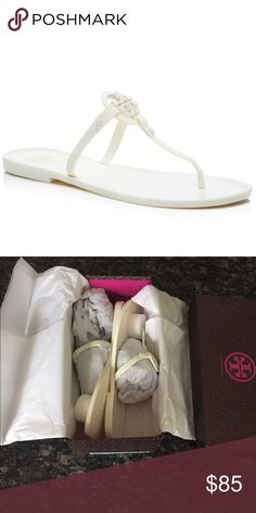 Tory Burch mini Miller jelly thong sandals ivory Brand new in box Tory Burch Jelly Miller sandals in ivory.  Pet free smoke free posher Tory Burch Shoes Sandals
