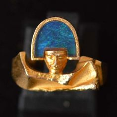Lapponia ring 1978 Björn Weckström - Rocks and Clocks Opal Jewelry, Gold Jewelry, Vintage Jewelry, Black Opal, 14 Karat Gold, Karate, Druzy Ring, Jewerly, Gemstones