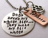 Personalized Dog Quote Necklace for the Dog Lover