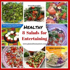 8 Easy and Delicious Gluten Free Salads /sides for Memorial Day Green Bean Salads, Green Salad Recipes, Salad Recipes For Dinner, Healthy Salad Recipes, Clean Recipes, Free Recipes, Caprese Appetizer, Tomato Caprese, Easy Salads
