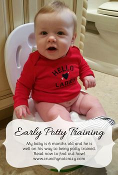 My baby is 6 months old and he is well on his way to being potty trained. Read now to find out how! Early potty training, infant potty training, baby potty training, elimination communication, EC - check it out! Potty Training Boys, Toilet Training, Training Tips, Baby Potty, Baby Development, Baby Health, Everything Baby, Baby Time, Our Baby