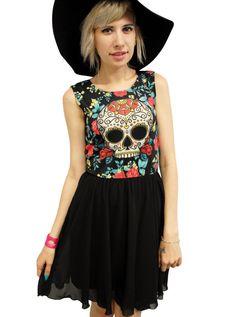 "Women's ""Sugar Skull"" Floral Chiffon Cocktail Dress by Newbreed Girl (Black)"