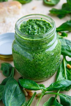 Spinach Pesto 1 cup baby spinach, packed cup basil, packed 1 clove garlic 2 tablespoons pine nuts, toasted cup parmesan, grated 3 tablespoons olive oil lemon juice to taste salt and pepper to taste Sauces, Baby Spinach, Pesto Spinach, Homemade Pesto, Cooking Recipes, Healthy Recipes, Pesto Recipe, Spice Mixes, Food For Thought