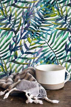Motif de feuilles aquarelle tropical fond décran amovible