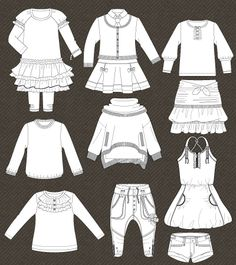 Set of isolated fashion templates for girls | Kidsfashionvector | cute vector art for kids clothes