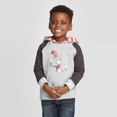 Seuss Cat in the Hat Hooded Sweatshirt - Light Gray 12 M, Boy's, Size: Sherpa Lined, Red And White Stripes, Toddler Boys, Hooded Sweatshirts, Heather Grey, Hoods, Zip Ups, Fashion Outfits