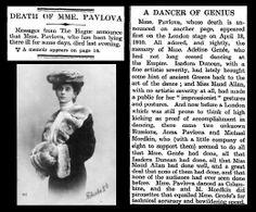 23rd January 1931 - Death of Madame Anna Pavlova