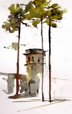 architecture tree sketch urban sketchers - architecture tree sketch ` architecture tree sketch plan ` architecture tree sketch landscapes ` architecture tree sketch urban s Watercolor Architecture, Watercolor Landscape, Landscape Art, Sketch Architecture, Watercolor Sketch, Watercolor Paintings, Watercolors, Watercolor Trees, Watercolor Portraits