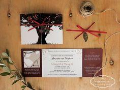 Woodland / tree wedding invitations with leaf charm and ribbon. www.weddingart.co.nz