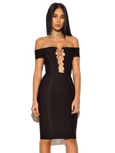 Rosanna Black Off Shoulder Bandage Dress