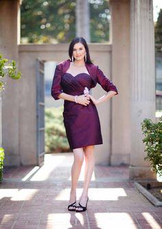 2015 Sweetheart Sleeveless Grape Satin Jacket Short Length Mother of the Bride Dresses MBD333