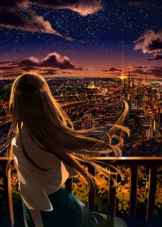 grafika anime, city, and anime girl art scenery Image about beautiful in anime✨ by eenjee on We Heart It Anime Art Girl, Manga Art, Anime Girls, Anime Girl Crying, Anime Scenery Wallpaper, City Wallpaper, Animes Wallpapers, I Love Anime, Aesthetic Anime