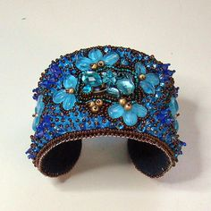 Flower Power Bead Embroidered Cuff blue aqua by AngelqueCreations, $175.00
