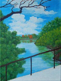 Bridge over the Sauk ORIGINAL Acrylic Painting on Canvas 12 X 16 Art Work Landscape St. Cloud Minnesota MN River Scenery Scenic Stone by ABrushOfLife on Etsy