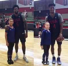 This picture of basketballer players Jimmy Butler and Deandre Jordan with… Miami Heat Basketball, Basketball Court, Ragan Smith, Madison Kocian, Laurie Hernandez, Simone Biles, Gabby Douglas, Olympic Gymnastics, Olympic Athletes