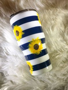 Navy Stripe and Sunflower Painted Custom Tumbler Cup
