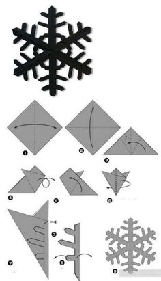 How to cut paper snowflakes – DIY Crafts – Christmas Crafts Paper Snowflake Patterns, Snowflake Template, Paper Snowflakes, Christmas Snowflakes, Christmas Christmas, How To Make Snowflakes, Instruções Origami, Paper Crafts Origami, Origami Design