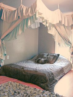 Two Bed Sheets, Two Bed Skirts, a Spool of Cheap Ribbon, and a Staple Gun. Canopy Bedroom, Diy Canopy, Canopy Tent, Bedroom Decor, Bedroom Ideas, Gypsy Bedroom, House Canopy, Bed Canopies, Houses
